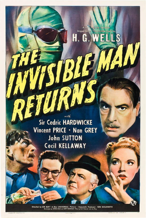 """В Голливуде фильм тоже имел заслуженный успех. Ведь его снял классик кинофантастики - Джеймс Уэйл, создатель """"Франкенштейна"""" и """"Невесты Франкенштейна"""". Но """"Возвращение человека-невидимки"""" (1940) снимать он отказался - были свои планы. Актера тоже заменили. Причем замена оказалась вполне адекватной. Если в первом фильме играл Клод Рейнс (""""Касабланка"""", """"Призрак Оперы""""), то второй стал дебютом для Винсента Прайса, будущего классика киноужасов (""""Колодец и маятник"""", """"Ворон"""", """"Маска Красной Смерти""""). В фильме больший упор был сделан на разрушительном действии невидимости для человеческой психики."""