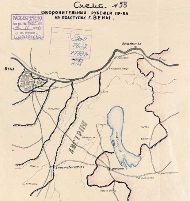 Схема оборонительных сооружений на подступах к Вене