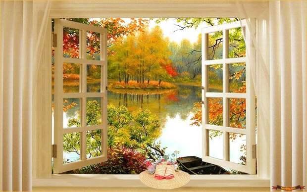 10. Ложное окно с ветерком дизайн интерьера, идеи, окна, пейзаж, пространство, ремонт