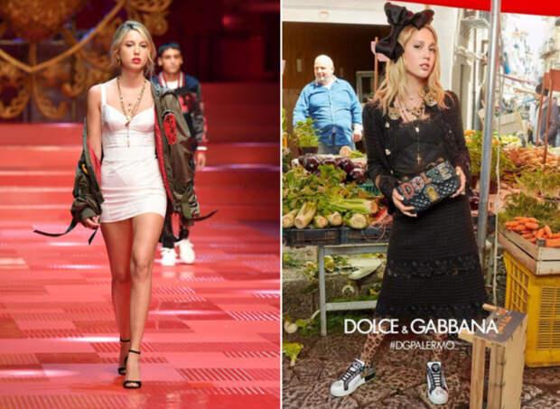 Мария-Олимпия на показе Dolce & Gabbana SS 2018 год. \ Принцесса Греции и Дании в рекламной съёмке Dolce & Gabbana FW 2017 год.
