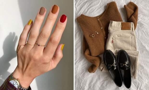 Осенний маникюр на короткие ногти