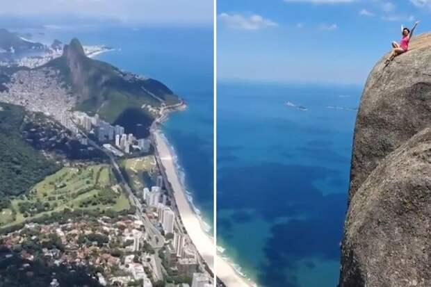 В шаге от смерти: отчаянная туристка позирует на краю утеса высотой 914 метров