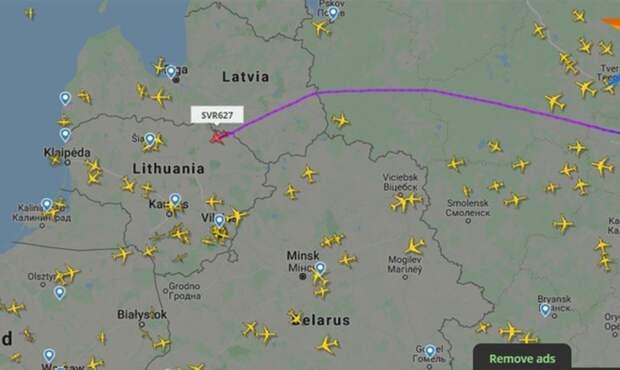 Российская авиакомпания проигнорировала воздушное пространство Беларуси