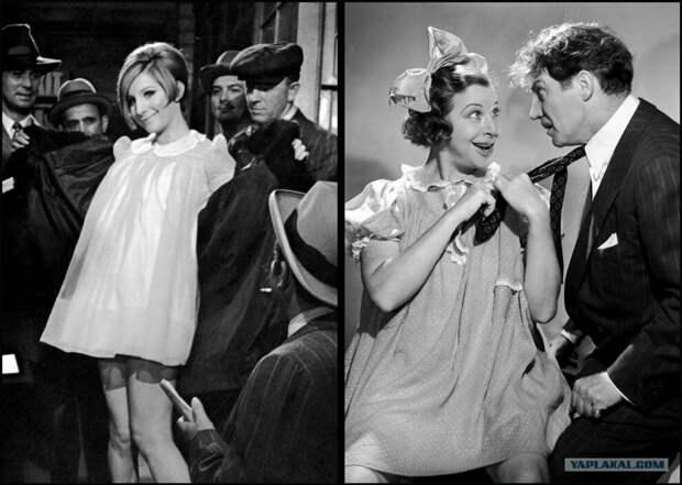 """Это мюзикл-байопик. Стрейзанд играет реальную бродвейскую актрису 20-30 годов Фанни Брайс. Вот на фото вверху можно сравнить сходство. В названии фильма - игра слов. Имя """"Фанни"""" звучит так же, как слово """"смешная""""."""