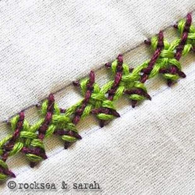 Interlaced Herringbone Stitch Sara's Hand Embroidery Tutorials