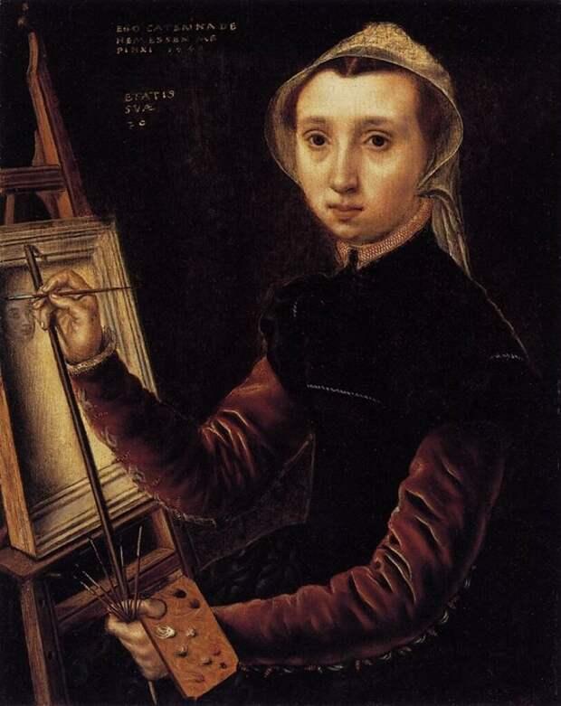 Автопортрет Катерины ван Хемессен, придворной художницы Марии Австрийской.