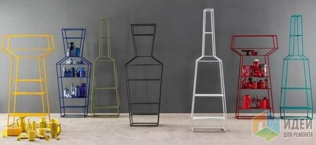 Декоративные цветные полки, силуэты которых напоминают вазы и бутылки. Bonaldo