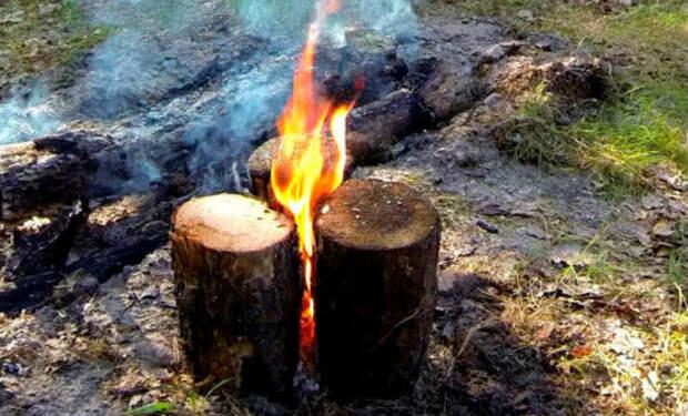 Ставим таежные костры из бревен: горят всю ночь до утра