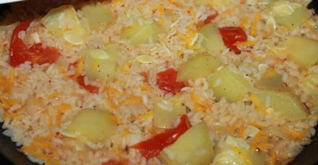 Овощное рагу: кабачки тушеные с рисом