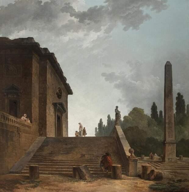 Пейзаж с лестницей и колонной