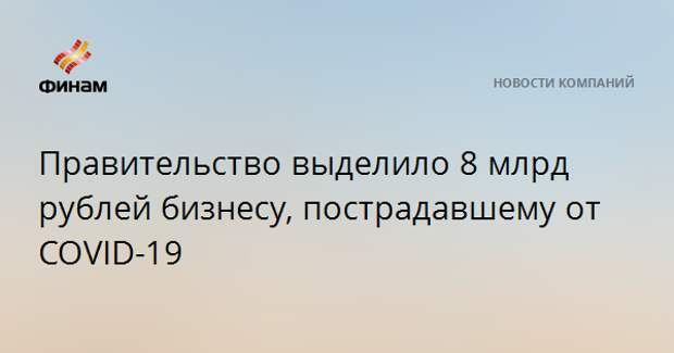 Правительство выделило 8 млрд рублей бизнесу, пострадавшему от COVID-19