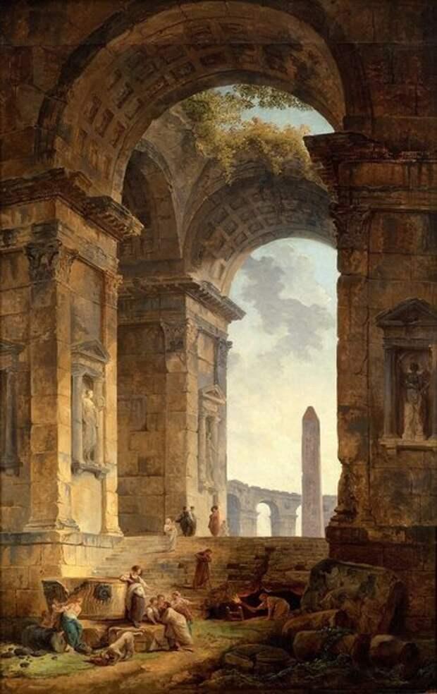 Руины с обелиском
