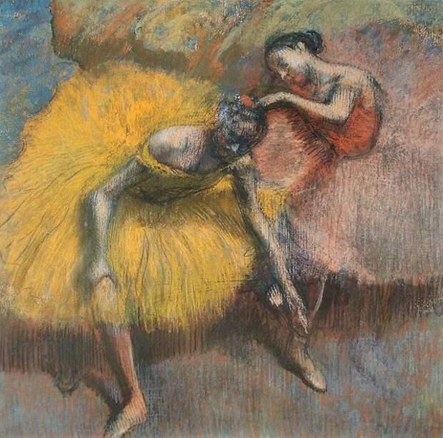 Эдгар Дега. Две танцовщицы -- желтая и розовая. Около 1898