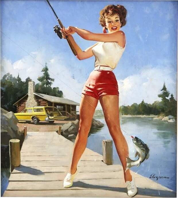 Винтажные пин-ап красотки на рыбалке.