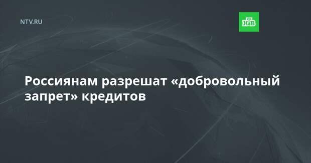 Россиянам разрешат «добровольный запрет» кредитов