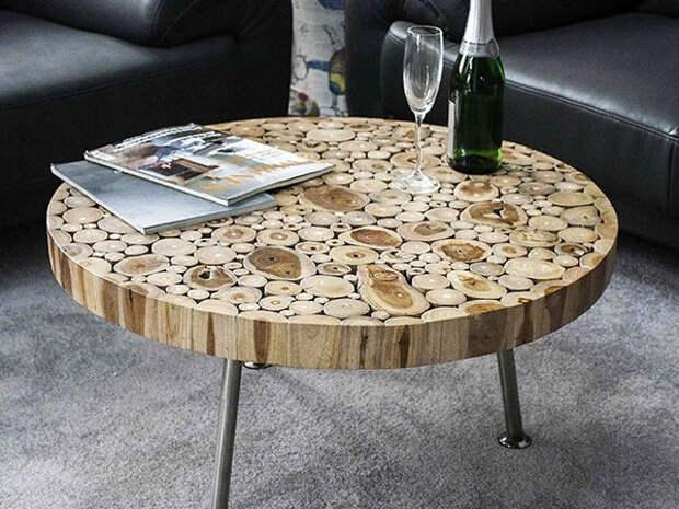 круглый журнальный столик из дерева
