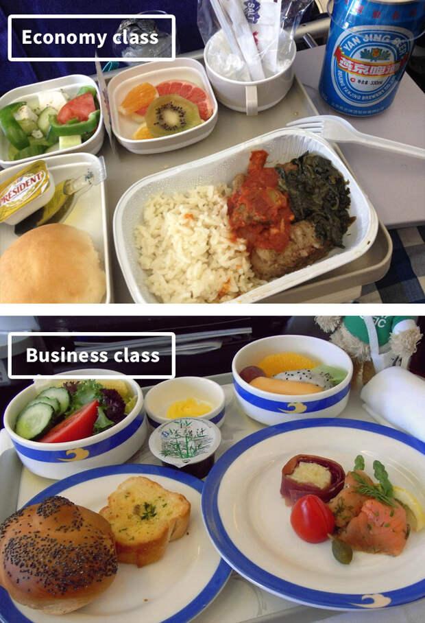 Чем кормят в самолётах известных авиакомпаний: эконом-класс vs бизнес-класс