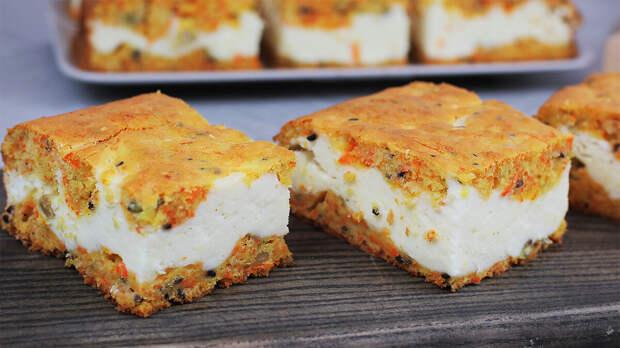 Нежный морковный пирог с творожным суфле