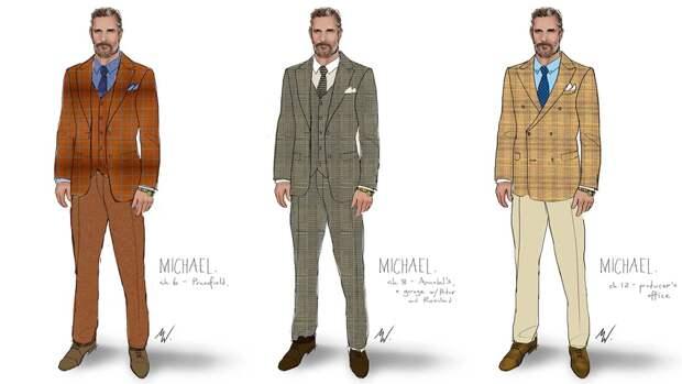 Зарисовки костюмов Мэттью Макконахи, сшитые специально для его роли костюмерами фильма