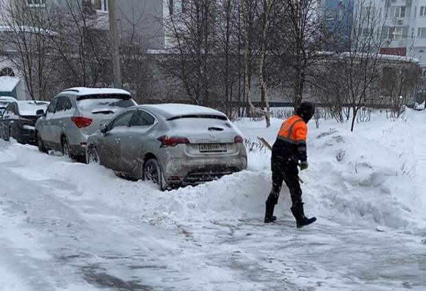 Последствия сильного снегопада ликвидируют более 400 коммунальщиков Митина