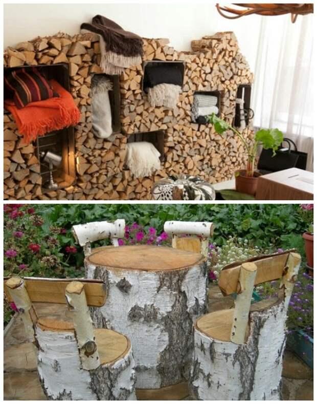 Обычные чурки можно превратить в практичную мебель. | Фото: novamett.ru.