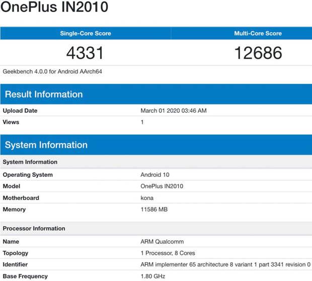 Смартфон OnePlus 8 5G с 12 Гбайт ОЗУ протестирован в Geekbench