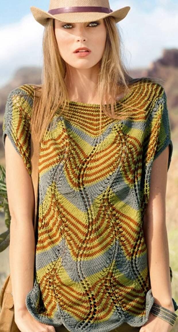 Яркий летний пуловер спицами