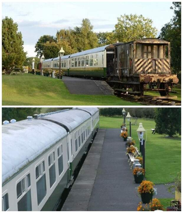 Гостевой дом «Станция отдыха» создан из списанного железнодорожного подвижного состава.