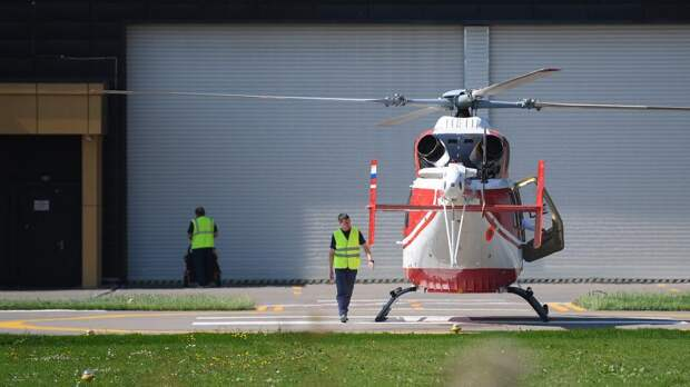 """Вертолет """"Ансат"""",на котором осуществлялась доставка гостей на авиасалон МАКС-2019"""