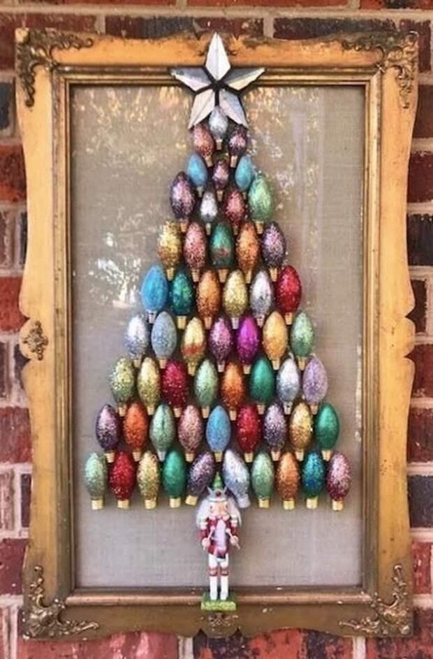 Панно-елочка — оригинальный новогодний декор, собранный своими руками