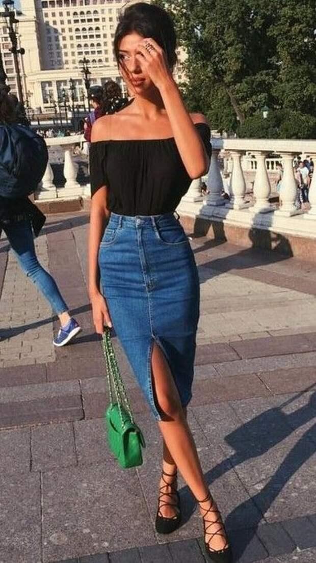 С чем носить джинсовую юбку миди: 10 модных идей