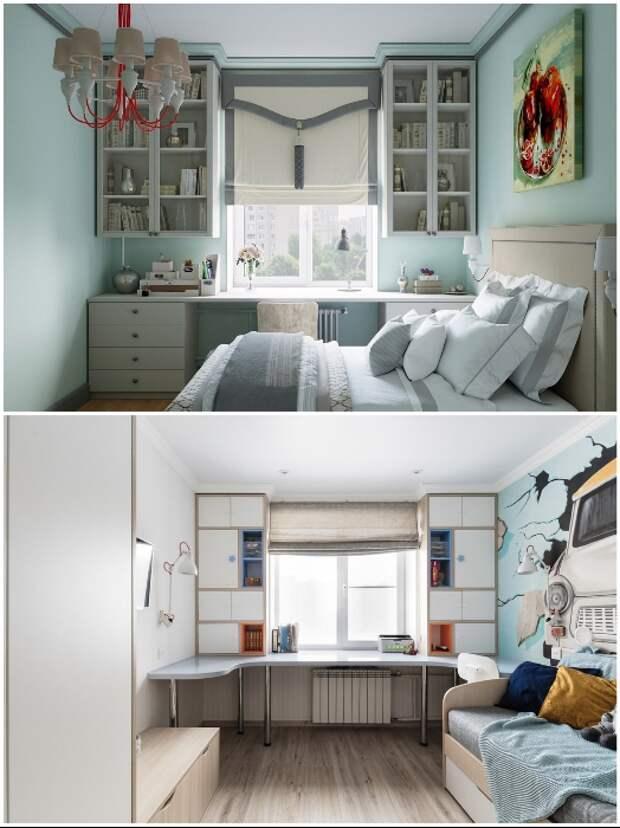 Возле окна прекрасно станет рабочий стол, а полки/шкафчики вокруг проема помогут рационально задействовать площадь.   Фото: design-homes.ru.