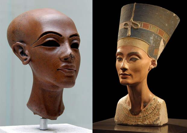Справа - портрет Нефертити.