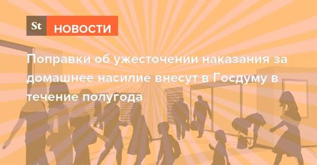 Поправки об ужесточении наказания за домашнее насилие внесут в Госдуму в течение полугода