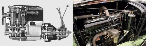 Шестицилиндровый ДВС Willys Knight 1928 года (слева) и его развитие — бесклапанный мотор родстера Willys Knight Great Six 1930 года (шесть цилиндров, объём 4180 см³, мощность 87 л.с.). авто, автомобили, двигатель