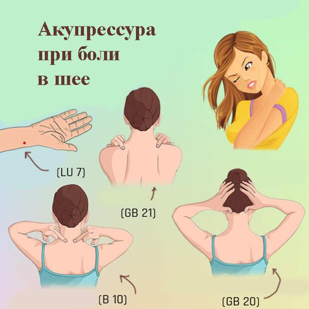 Акупрессура при боли в шее: 4 точки, которые работают