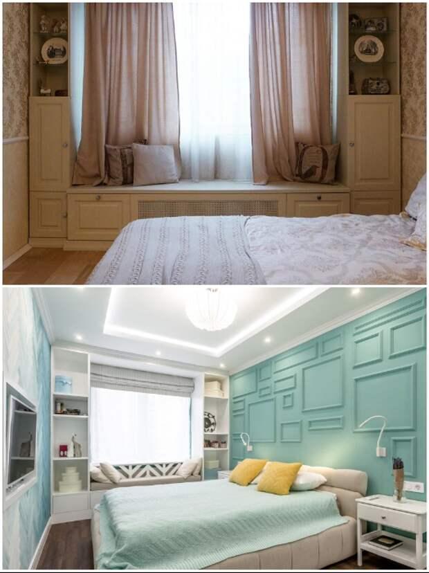 Под окном можно сделать диванчик или лавку с выдвижными ящиками или полками.   Фото: berkem.ru/ design-homes.ru.