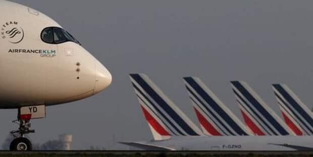 An Air France Airbus A350 airplane lands at the Charles-de-Gaulle airport in Roissy, near Paris, France April 2, 2021. REUTERS/Christian Hartmann