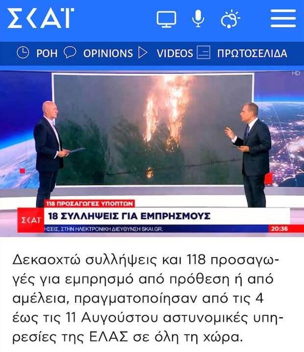 Греческая полиция 118 человек по подозрению в умышленных поджогах лесов