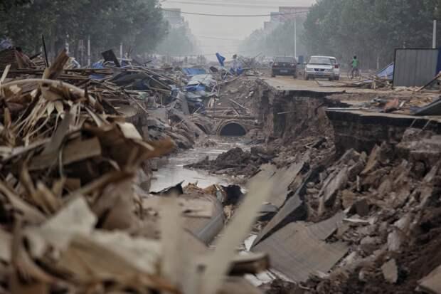 Дорога, повреждённая наводнением