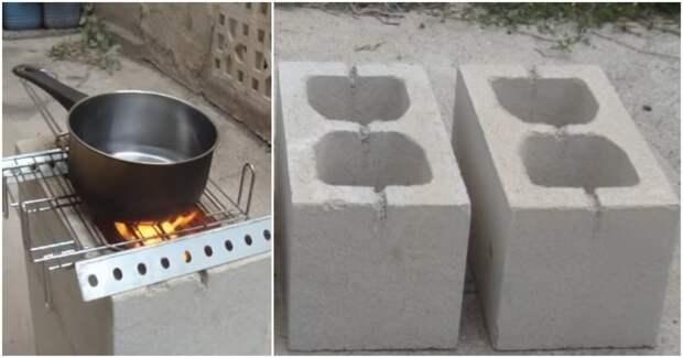 Бюджетная печь всего из 4 шлакоблоков. Неожиданно простое и практичное решение
