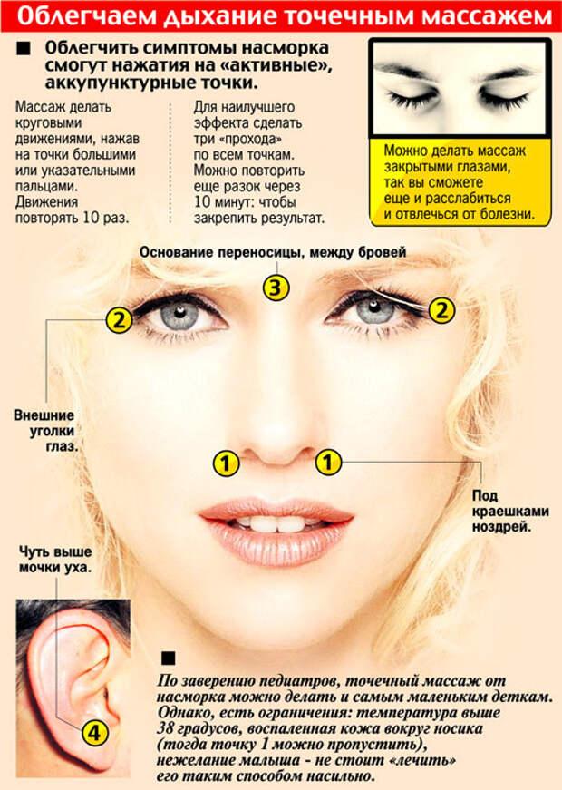Точечный массаж от насморка и заложенного носа