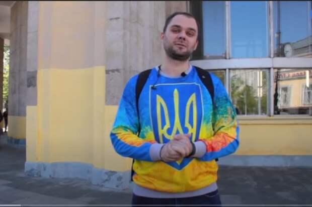 Реакция россиян на человека с украинским «тризубом»