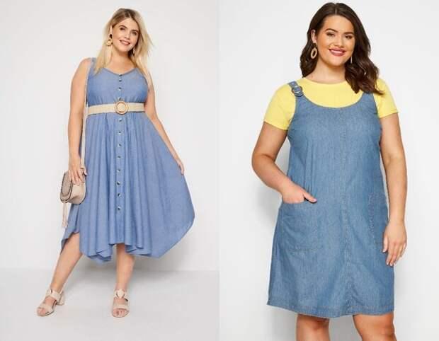 Джинсовые платья для полных