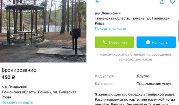 В Гилевской роще Тюмени бронируют беседки за 450 рублей