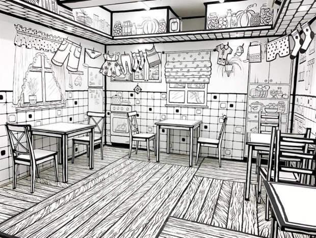 Черно-белая иллюзия: как выглядит ЧБКафе, «нарисованная» кофейня в Петербурге