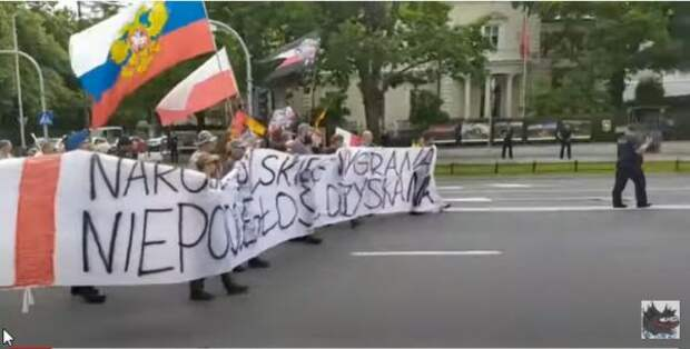«Зелёные человечки Володи уже вПольше»: поляки протестовали против США сфлагомРФ
