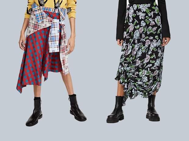 Работа на контрасте: как носить нарядную юбку и высокие ботинки