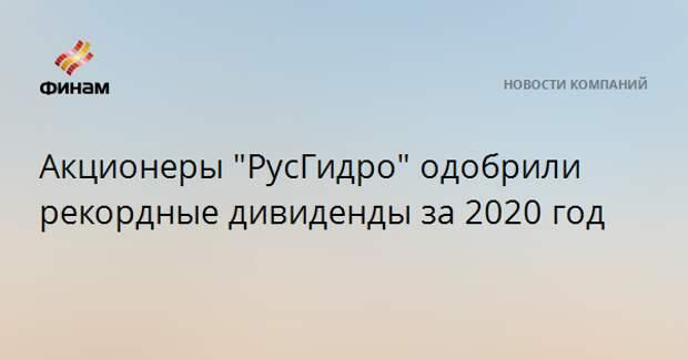 "Акционеры ""РусГидро"" одобрили рекордные дивиденды за 2020 год"