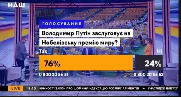 Зрада в прямом эфире: Большинство украинцев считают, что Путин заслужил Нобелевскую премию